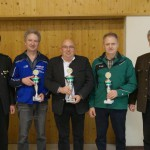 Mannschaftswertung (v.l.): 1.SM Bastian Zankl (KSE), 2.Platz Anton Werner (Eichlaub Seifriedswörth), 1.Platz Robert Pitz (Altschützen Velden), 3.Platz Johannes Lanzinger (Edelweiß Hinterskirchen), 1.BM Ludwig Greimel