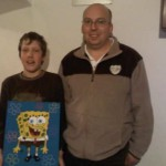 Strohschießen - Gewinner der Strohscheibe Michael Mayer mit Jugendtrainer Robert Pitz