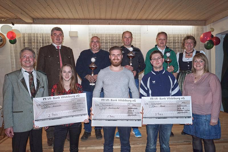 Die erfolgreichsten Schützen mit VG-Vorsitzendem Greimel, Bürgermeister Neudecker, Schützenmesiter und Pokalgewinner