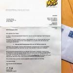 Offizielle Post vom DSB mit Einladung zur Preisübergabe in Hochbrück.
