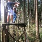 Der erste Hochstand im Wald.