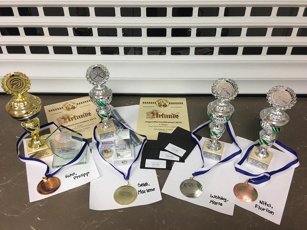 Preise unser Schützenjugend beim Jugendpokalschießen sowie Jugendfernwettkampf im Gau Vilsbiburg Jahr 2019